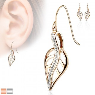 Pair coloured eardrops with leaf and crystals