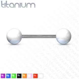 Titanium barbell with coloured ball