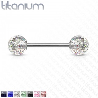 Solid titanium barbell with UV glitter balls