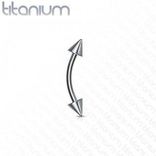 Titanium curved barbell with spikes