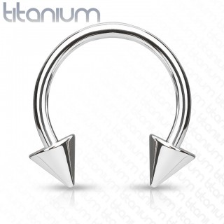 Titanium circular barbell with spikes