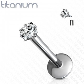 Internally threaded solid titanium labret with squared crystal