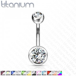 Titanium belly button piercing with coloured gems