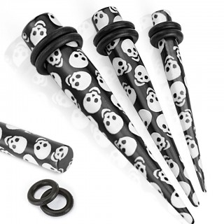 Black acryl stretcher with white skulls