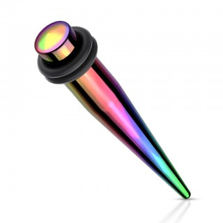 Steel ear stretcher piercing with rainbow colouring