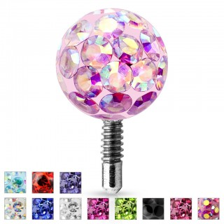 Internally threaded ferido style coloured crystal ball top