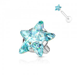 Internally threaded top with coloured star shaped crystal - Aqua