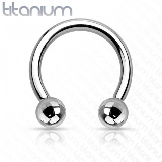 Titanium internally threaded circular barbell with balls