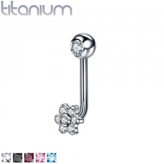 Internally threaded titanium vertical labret with coloured crystal flower – Black
