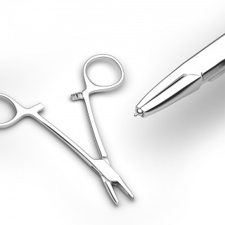 Forceps to place dermal tops on the anchor
