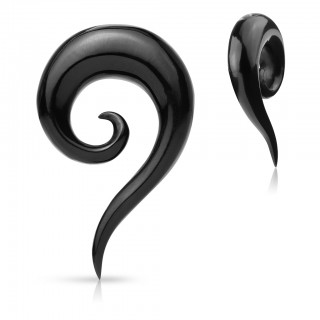 Black spiral taper of water buffalo horn with tail - 5 mm