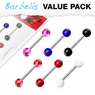 Basic colour barbell piercing set of 6