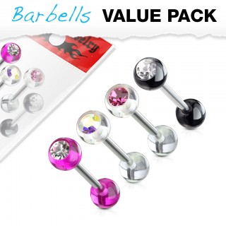Set of 4 barbells with coloured balls and gemstone
