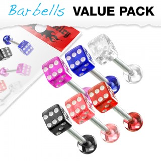 Set of 6 tongue piercing barbells with coloured lucky dice