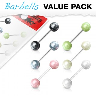 Set of 6 bright coloured pearl barbells