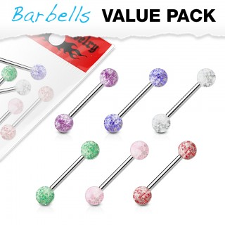 Bonus pack with 6 glittery barbells