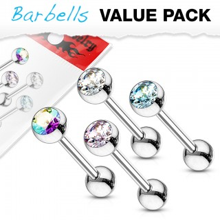 Multiple coloured crystals on basic barbells set of 4