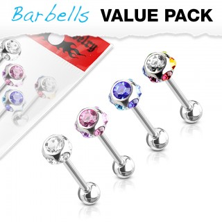 Value pack with 4 multi CZ barbells