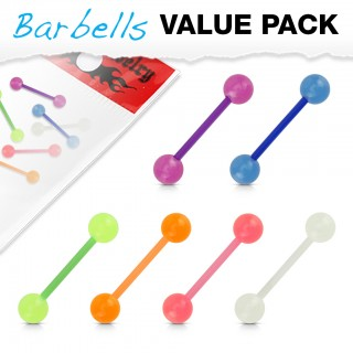 Set of 6 bioflex barbells with Glow in the Dark balls