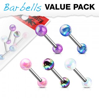 5 pcs value pack of metallic coated straight barbell piercings