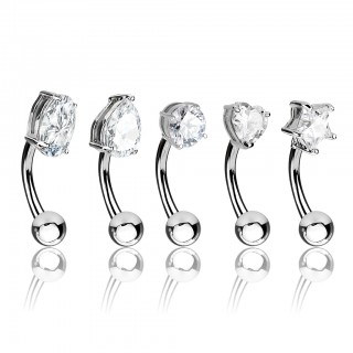 Set curved barbells with different shaped crystals - Silver
