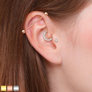 Ear cartilage piercing set for industrial and helix/tragus
