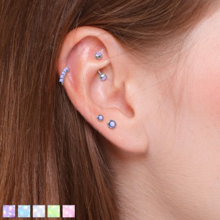 Set of 4 pcs ear cartilage studs with illuminating stones