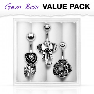Belly bars with 2 flowers and elephant in gem box