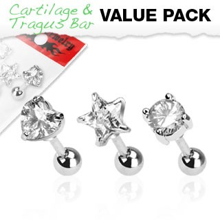 Set of three tragus piercings with clear crystal