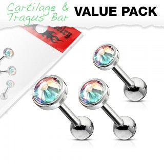 Tragus set with ascending size of aurora borealis crystals