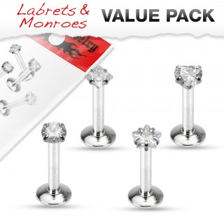 Set of four jeweled labret studs