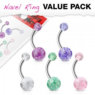 Set van 5 glitterbal navelpiercings