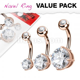 Set rose gold belly button piercings with crystals