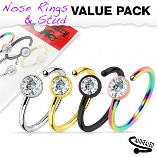 Set of 4 titanium plated nose rings with flat crystal