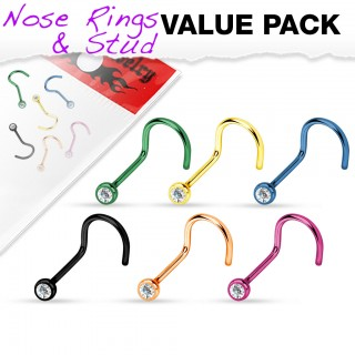 Set of 6 titanium plated screw nose piercings with crystal