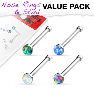 Discount set of four nose studs with opal balls