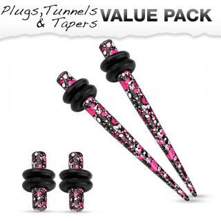 Stretch set inc. plugs with pink purple splatter pattern