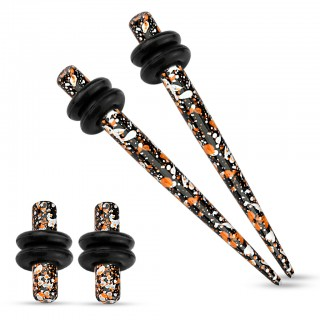 Stretch set inc. plugs met oranje zwart spetter patroon