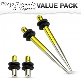 Titanium plated stretch set inc. plugs with metallic yellow and silver
