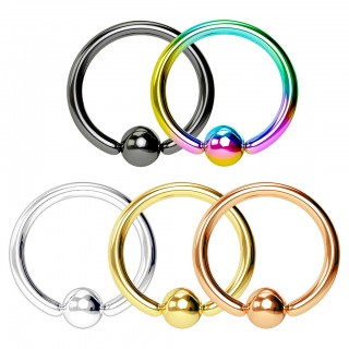 Vijf gekleurde ball closure rings met kristal in pack