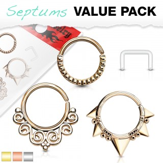 Set with bendable coloured piercing rings and retainer