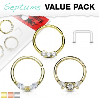 Coloured piercing rings set with clear crystals and retainer