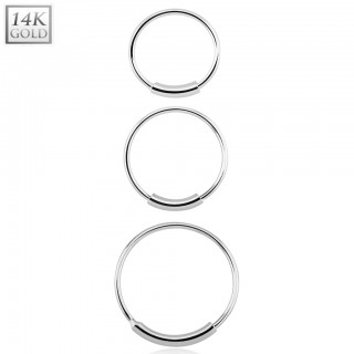 Solid 14 kt. white gold nose ring with bar