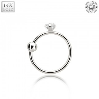 White gold nose ring with real clear diamond and ball