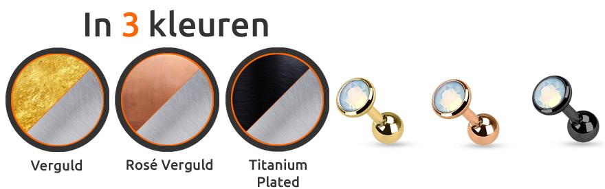 Helix piercing met opaal steen